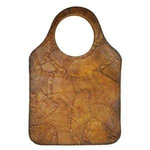 Vintage Leather Patchwork Boho Purse Handbag Handm